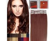 16 Inches 20pcs Straight Tape In Remy Human Hair Extensions Beauty Hair Salon Style 33 dark auburn 30G/PACK